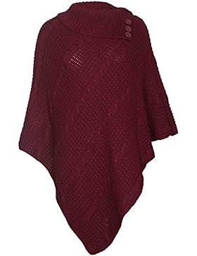 Poncho de punto para mujer, talla única, con botones y cuello doblado