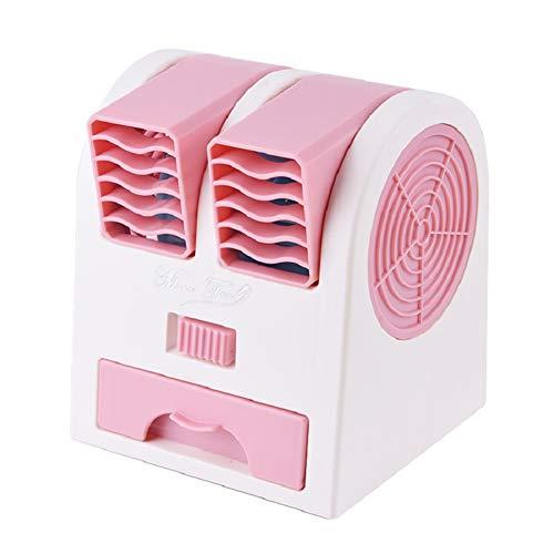 NN-xUE Mini-Lüfter, Dual-Port-Lüfter, USB-Plattenlüfter, luftgekühlter Klimaanlagenlüfter, doppelter Verwendungszweck, tragbarer Umluftkühler,Pink (Wenn Ich 100 Werden)