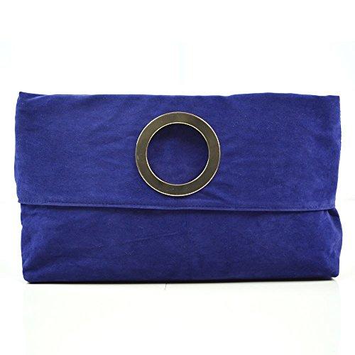Essex Glam Borsa Donna Pochette Sera Pieghevole Finto Scamosciato Maniglia Azzurro