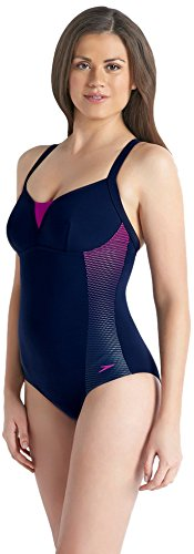 Speedo Damen Sculpture Shinedream Placement 1 Piece Badeanzug Navy/Purple