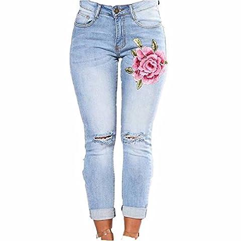 Culater® Femmes Skinny Slim Pantalons Brodés Petits Pieds élastiques Jeans Demin (XXL)