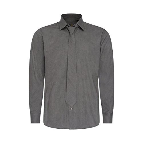 Robelli Herren Detail Plain Kleid Hemden/Hemd & Krawatte Kollektionen - Qualitäts Baumwolle oder Satin Style No. 8 - Grey