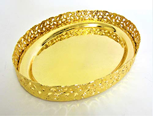 Serviertablett, oval, verchromt, silberfarben/vergoldet Golden Chrome Oval Tray -