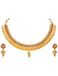 JFL - Traditional Ethnic One Gram Gold Plated Temple Laxmi Goddess Stone Designer Necklace Set With Jhumka Earring...