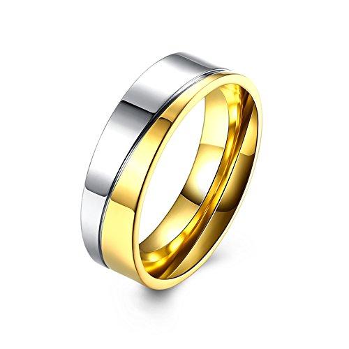 AMDXD Eheringe Titan Quadrat Zirkonia Bicolor Streifen Gold Silber Herrenring Größe 62 (19.7)