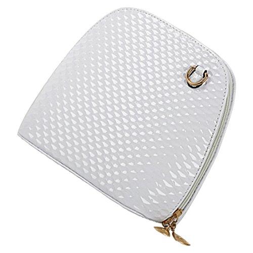 crossbody borsa - SODIAL(R)criss casuale croce piccolo guscio signore frizione donne della borsa del partito di sera spalla borsa borse crossbody Nero bianca