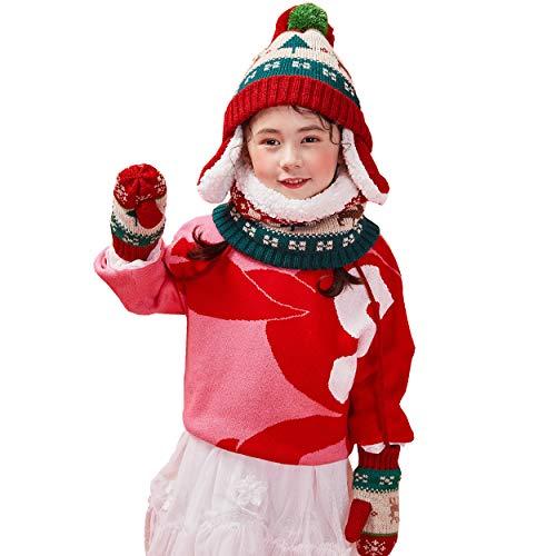 TRIWONDER Cappello Inverno Berretto in Maglia, Guanti da Neve, Scaldacollo/Sciarpa Invernale, Serie Invernale per Bimbo Bimba Ragazzo Ragazza (Rosso)
