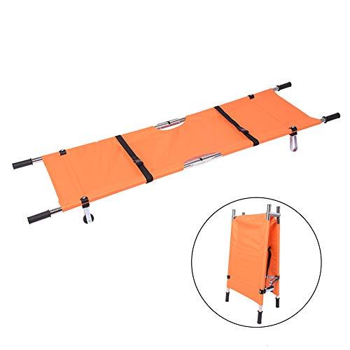 Medizinische Krankentrage, Tragbare 2-fach Erste-Hilfe-Rettungstransport-Aluminiumlegierungs-Trage für die Evakuierung von Feuerwehrleuten,Orange
