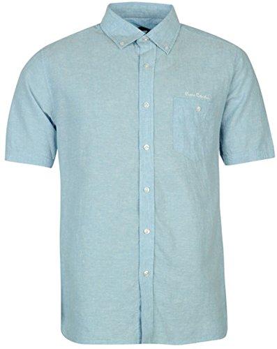 mens-smart-casual-short-sleeve-linen-shirt-top-x-large-sky-blue