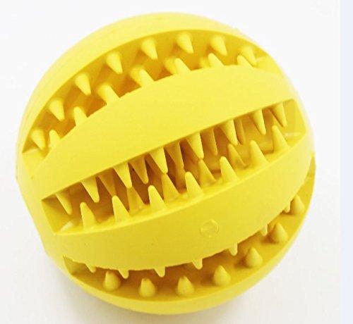 Bild: Dog Care Hundespielzeug Ball aus Naturkautschuk mit ZahnpflegeFunktion für Leckerli 7cm für Große und Kleine Hunde yellow