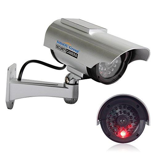 Kamera Virtuelle (Sidiou Group neue Art Sonnensimulation Monitor Simulation Kamera gefälschte Überwachungskameras Virtuelle Kamera Solarbetriebene Simulation Kamera (Silber))