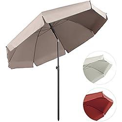 Sekey® sombrilla parasol para terraza jardín playa piscina patio diámetro 240 cm protector solar UV25+,Taupe