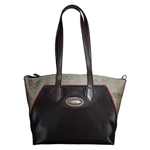 LA MARTINA (Lady) Borsa Shopping Donna Tessuto Cerato Stampa Logo Marrone Rosso 268.005