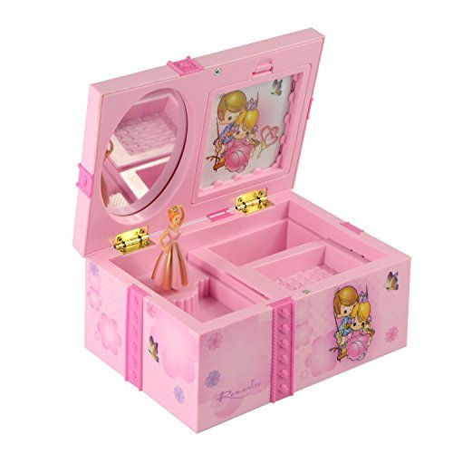 Saim Rechteck Dream Girl Musik Box Märchen Kinder Musikalische Schmuck Box mit Pink Ballerina ALICE IM WUNDERLAND–Musicl - Musikalische Schmuck-box