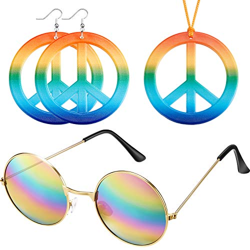 Weewooday Hippie Dressing Up Zubehör Set Hippie Brille, Friedenszeichen Halskette und 1 Paar Hippie Stil Friedenszeichen - Groovy Chic Für Erwachsenen Kostüm