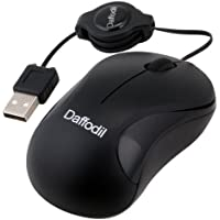 Wired USB Laptop PC Mouse - Daffodil WMS108B - Portable Travel Mouse with Retractable Cord - For All Windows and Mac Computers- No Batteries Needed