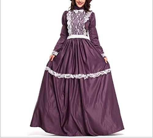 Of Kostüm Lady Manor Adult The - Mitef Damen-Kostüm Prairie Damenkostüm Mittelalter Kolonialkleid Bauernhofbekleidung - Violett - X-Large