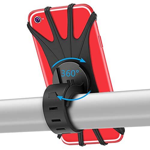 PEYOU Handyhalterung Fahrrad für iPhone X/8/7/6/6 Plus,Samsung S8/S7/S6 und Handy mit 4-6,5 Zoll,Universal Silikon Verstellbarer Handyhalter für Fahrrad Motorrad, 360° Rotation