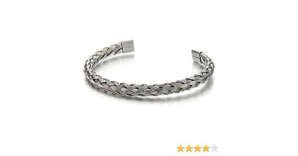 COOLSTEELANDBEYOND Elastique R/églable Tress/é Bracelet Manchette C/âble Acier Inoxydable pour Hommes et Femmes