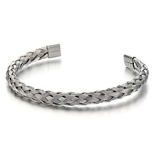 Elástica Ajustable, Trenzado Entretejido Acero Inoxidable Cable Pulsera de Hombre Mujer, Color de Plata, Espejo Pulido