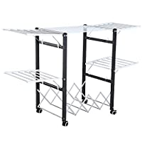 HOMCOM Foldable Drying Rack Clothes Airer Extendible Wings Easy Storage Towel Hanger Laundry Room w/Casters Black & White