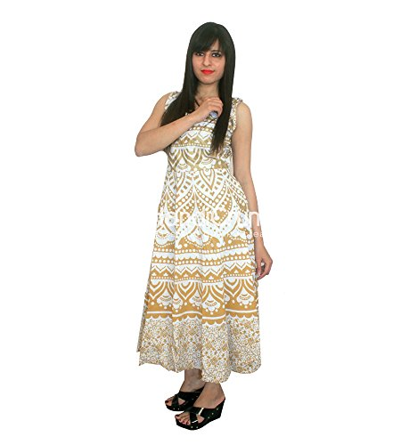 Handgemachte Exporte Golden Ombre Mandala Sleeveless Abendkleid Hochzeit Proms Party Maxi Kleid (Party Kleider Ombre)