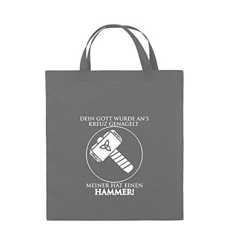 Comedy Bags - DEIN GOTT KREUZ - MEINER HAMMER - Jutebeutel - kurze Henkel - 38x42cm - Farbe: Dunkelgrau / Weiss