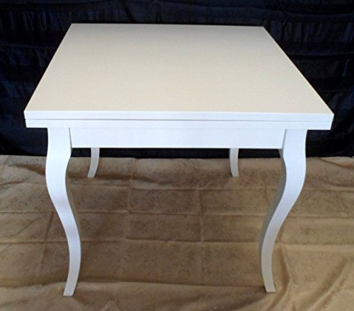 Legno&Design Table carré Extensible Blanc laqué