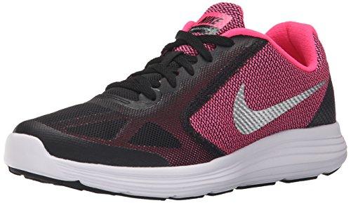 Nike Revolution 3 Gs, Zapatillas de Running Niña, Negro (Black / Metallic Silver / Hyper Pink / White), 38 EU