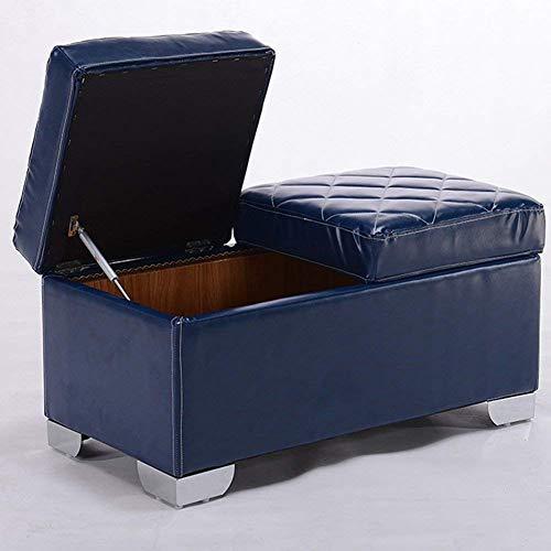 Blau Leder Osmanischen (QQXX Umweltfreundliche und geschmacksneutrale osmanische, tragbare Aufbewahrungsbox aus Leder und Holz zum Zusammenklappen. Innenauflage spart Platz. Robuste Tragfähigkeit. (Farbe: Blau))