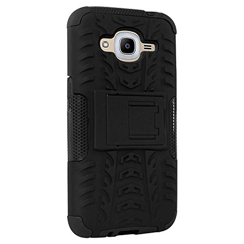 MuditMobi Defender Kick Stand Spider Hard Dual Rugged Armor Hybrid Defender Bumper Back Case Cover for Samsung Galaxy J2 (2016) - Black