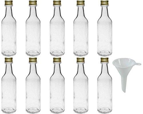 10 x kleine Glasflasche 50 ml, Miniflasche mit Schraubverschluss inkl. Trichter Ø 5 cm