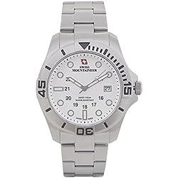 Swiss Mountaineer HerrenUhr-Silber-Ton-Edelstahl-Armband Groß Weiß Zifferblatt Datum SM8020