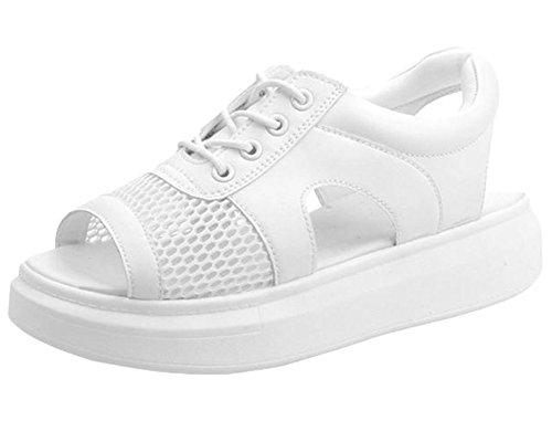 Damen Casual Lackleder Komfort Sandaletten Peep-Toe Krawatte Flache Plateau Schuhe Sportschuhe Weiß 40