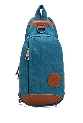 BULAGE Taschen Männer Sport Freizeit Leinwand Brusttasche Schulter Tasche Mann Tasche Reisen Reiten Retro Mode Im Freien Blue