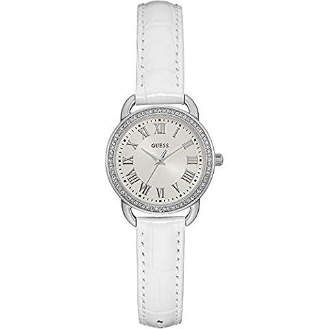 Guess Womens cinquième avenue bracelet en cuir blanc cadran argenté W0959L1