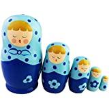 Cute Singing Blond Girl Blue Polka Dot Flower Pattern Handmade Wooden Russian Nesting Dolls Matryoshka Dolls Set 5 Pieces For Kids Toy Birthday Christmas Home Decoration Perfect Mother's Day Gift