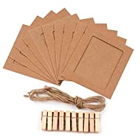 Paper Photo Frame Set with Wooden Clip and String - Wall Photo Frame Hanging Picture Album-Party Decoration (Brown)
