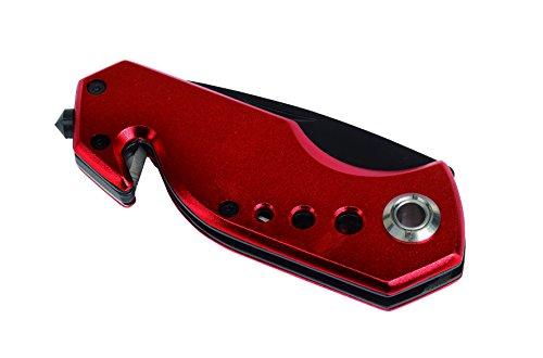 Taschenmesser mit Gurtschneider und Nothammer plus Befestigungsclip Farbwahl (Rot)
