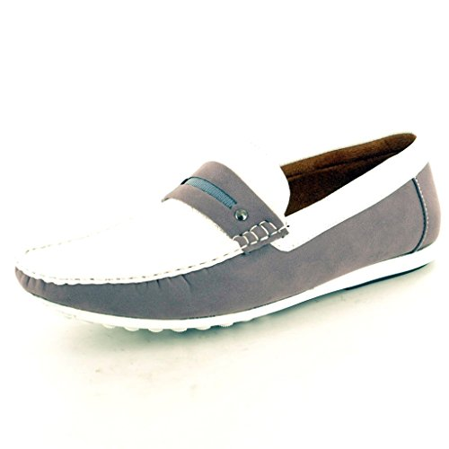 Mens Grey / White Leather look Casual Loafers Slip on Moccasins / Driving Shoes ( Size 6)