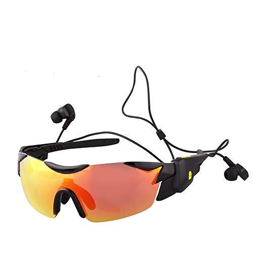 JAY-LONG Bluetooth 4.1-Sportbrillen, Sonnenbrillen Mit Multifunktionaler Sonnenblende Mit Blendschutz, Fahrradwindschutzbrille, USB-LadegeräT,Red