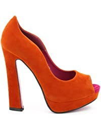Escarpins peeptoe orange aspect daim