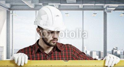 druck-shop24 Wunschmotiv: Builder checking spirit level Mixed media #119983781 - Bild als Klebe-Folie - 3:2-60 x 40 cm/40 x 60 cm -