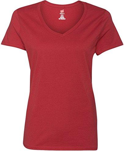 Hanes T-shirt nano-t à col en V pour homme Rouge vintage