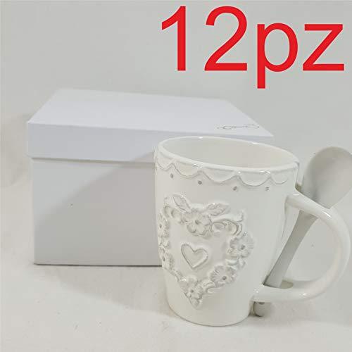 12 pezzi bomboniere per matrimonio utili tazza mug con cucchiaino in porcellana shabby chic