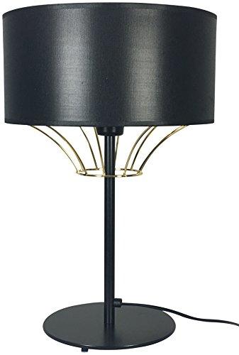 Peralta Vidavi Iluminación Lámpara de Sobremesa E27, 60 W, Negro y Oro 30 x 47 cm