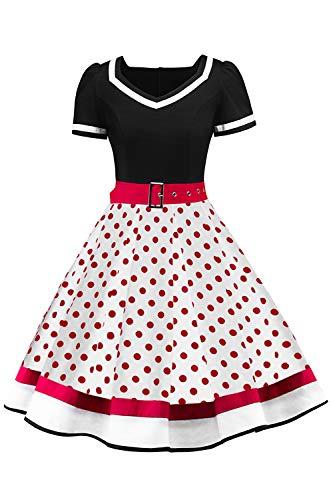 t 50er Jahre Petticoat Kleider Gepunkte Rockabilly Kleider Cocktailkleider ()
