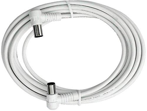 Axing BAK 753-00 Anschlusskabel IEC, Koax-Winkelstecker mit Koax-Kupplung, hochgeschirmt (7,5 m) weiß -