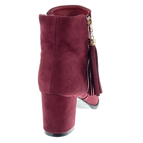 Angkorly - Scarpe Moda Stivaletti Scarponcini cavalier donna pon pon frange zip Tacco a blocco alto 6.5 CM Rosso