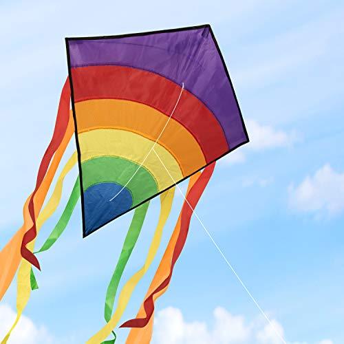 Homegoo aquilone per adulti, easy flyer aquiloni arcobaleno all'aperto volare facilmente con venti forti o leggeri, 120x60 cm